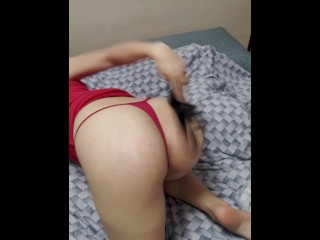 Sexy Russian blonde spanks her attractive ass