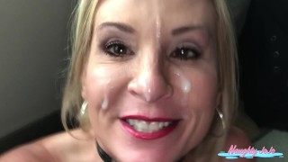 Blowjob milf facial-Joanna Meadows-NaughtyJojo sucks BBC until he unloads on her face