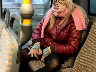 Sweet tranny has cumshot in public bus parking...