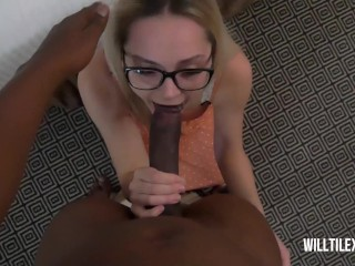 Tiny nerd chick gets fucked by big dick