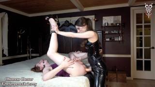 Mistress Mercer Gagged Feminized Slut Pegging in Latex and Sissy Strapon Riding