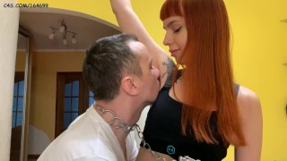 Juicy Armpits Licking and Sniffing Femdom - Mistress Kira and Her Pet-Slave On a Leash