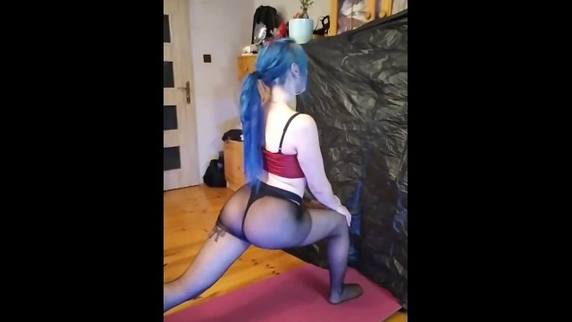 Joga Stretching with perfect body by Fetish Katrix nylon spandex ass PMV 2