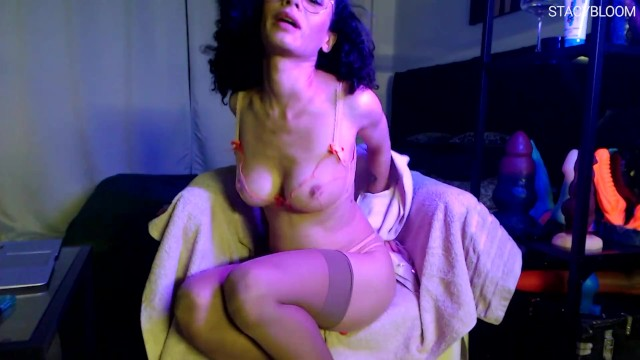 Cutie With Glasses Fucks Herself With A Huge Sex Toy And Has An Orgasm 13