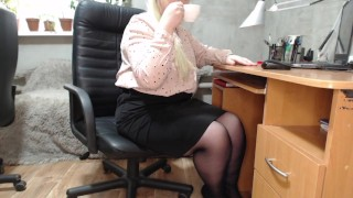 Secretary and his morning coffee with cream