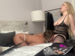 Two busty babes testing sex toys
