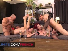 Anal sex with redhead MILF and blond French girl