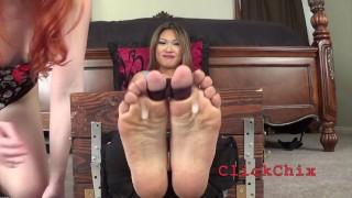 Nyomi Locked In The Stocks! Foot Tickling! Full Video!