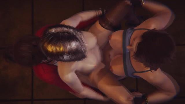 Double Futa - Resident Evil - Claire x Jill x Ada - 3D Porn 19