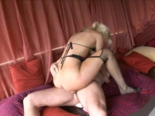 Hot busty blondie with booty takes two thick...