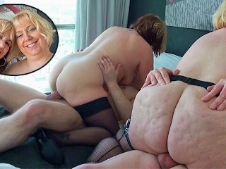 Two british mature blondes have a foursome...