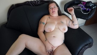 Cute BBW Tattooed Blonde Masturbation with Dirty Feet