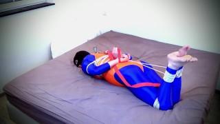 Self bondage hogtie fail in blue and orange