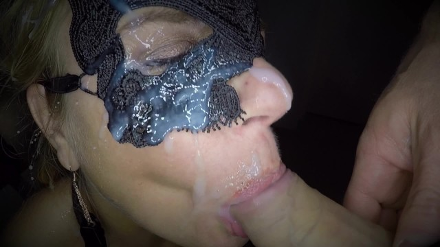 Throat fucking as she fucks herself with a big dildo in her ass and gives her an facial 42
