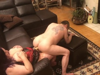 Sliding and wiggling on cock...