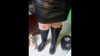 BBW Leather Mistress, bbw Domination! in wellies & in #leatherskirt