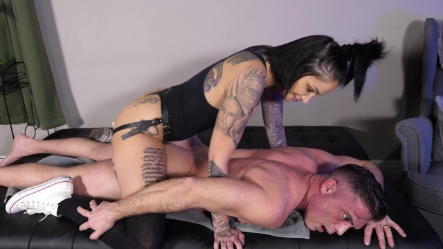 Fucking his ass with my huge strap on