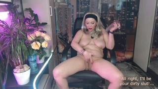 Very hot mature dirty talk and hard dildo fucking performed by a mature slutty bitch with big tits))