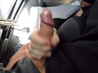 Handjob on a plane huge cumshot couple...