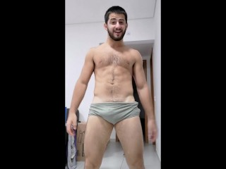 Straight exhibitionist hairy alpha hunk on speedos cocky...