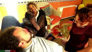 Ebony Goddess Gets Her Feet In Sweaty Pantyhose Smelled And The Friend Gives Me a Handjob Femdom