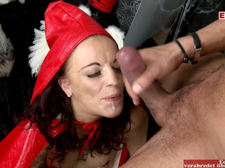 Sexy little red riding hood lets cock fuck...