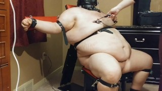 FemDom Wife Flogging and Whips Submissive Husband While in Bondage and Sensor Deprevation