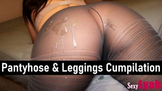 Cumshot on Beautiful Ass in Pantyhose and Leggings - SexyLyah Compilation