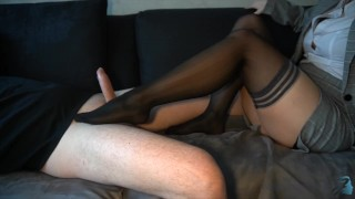 business woman after work - footjob ends with cum on her hold-ups