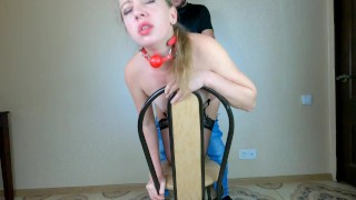 Orgasm Torture with with vibrator & Remote Control Lovense Lush for Tied Girl till multiple orgasms