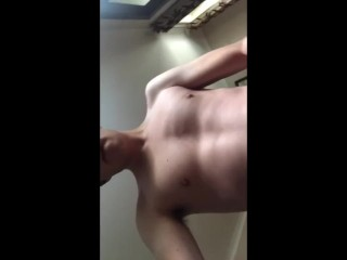 Wanking loudly until he cums...