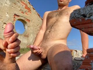 Risky outdoor masturbation ruins beach...