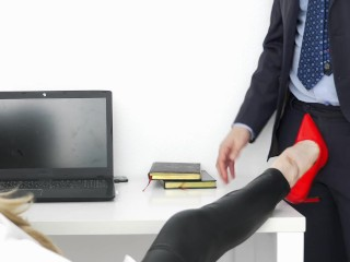 footjob in the office, guy cum on the legs of the secretary