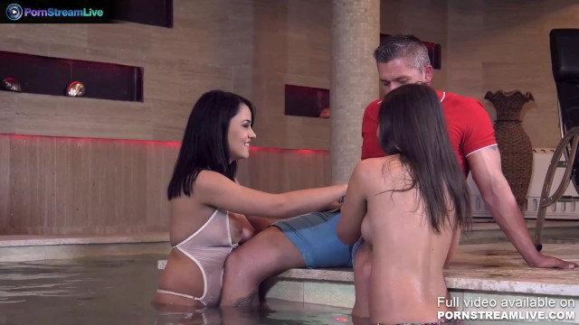 Aida Sweet and her best friend awesome threesome sex at the pool - by Only3x 17