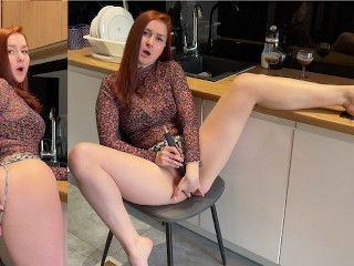 Housewife masturbates her wet pussy in the kitchen LeoKleo