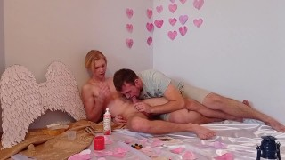 Guys masturbate in a romantic setting with whipped cream