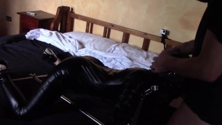 Laura on Heels amateur 2021 bound on a machine in latex catsuit, she's throated and hard fucked
