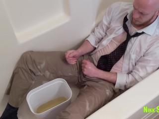 Nikk takes bath in shirt tie...