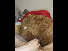Very horny boy fucks his teddy bear up his furry ass while moaning