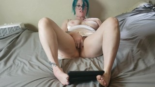 April Fools Bad Karma! Wank interrupted: BBW PAWG MILF caught masturbating POV iPad granny panties