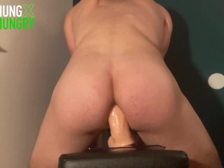 Horny Twink Fucks Himself Deep in Ass with a Huge Dildo until Cumming Hands Free