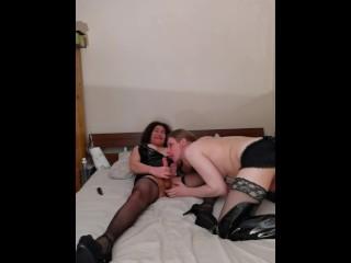 busty Hung Mature Tranny spunks in trans pornstars mouth
