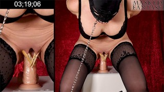 Squat Fuck Challenge - BDSM Edition, dominated dildo fuck with tied hands behind back