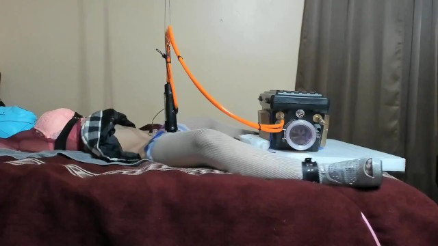 Extreme cum milking device bondage after long term chastity