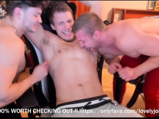 Two boys suck third guys hairy nipples at...
