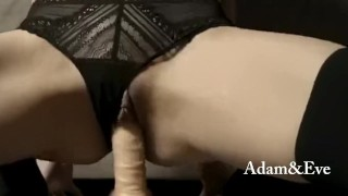 My wife riding dildo hard for me