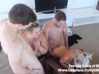 2 girls getting fucked and sucking cock 5...