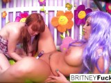 Purple Hair Pussy eater Britney Amber tastes Marie's red haired snatch