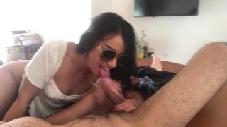 So nasty!! 🤮 Beautiful wife continues sucking my cock after she pukes and swallows my cum!! Cainan