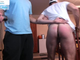 Ass pluged is getting a spank lesson nice...